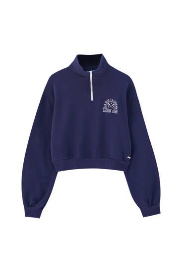 Sweatshirt mit Reißverschluss und Stickerei