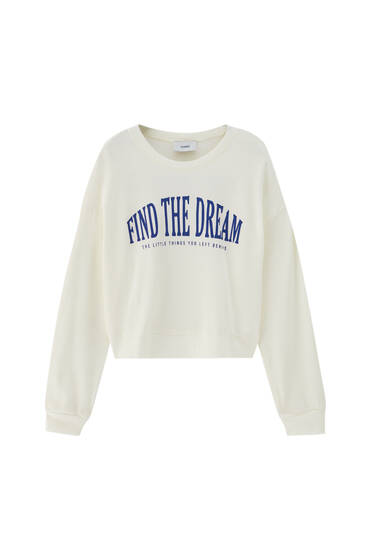 Basic long sleeve slogan sweatshirt