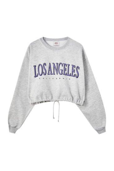 Grey drawstring sweatshirt