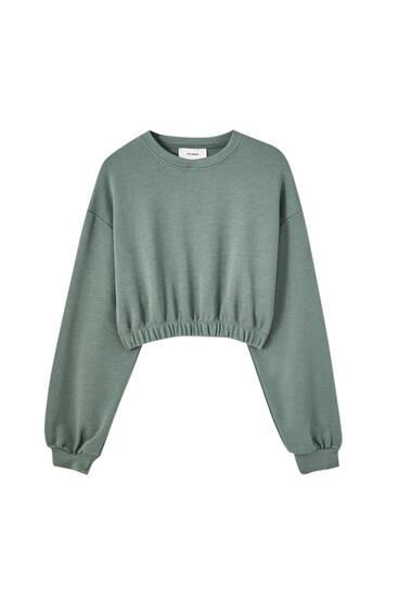 Cropped sweatshirt met elastische zoom
