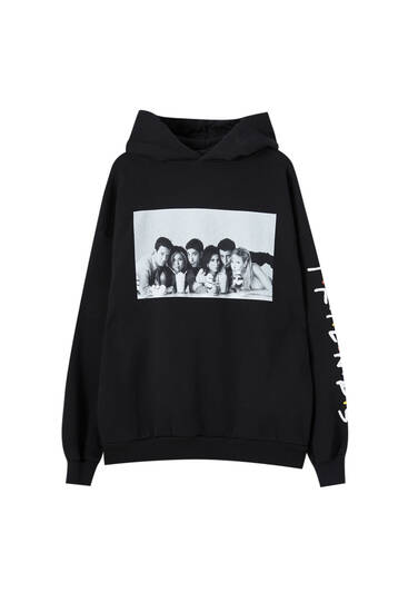 Friends hoodie with sleeve slogan