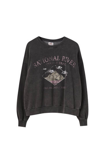 Black sweatshirt with mountain print