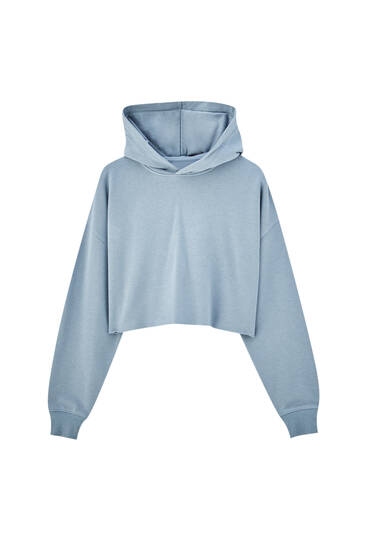 Sweat bleu court capuche