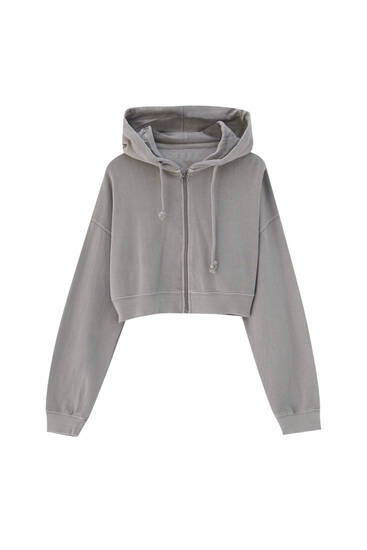 Cropped hoodie with zip
