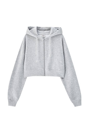 Cropped hoodie with zipper
