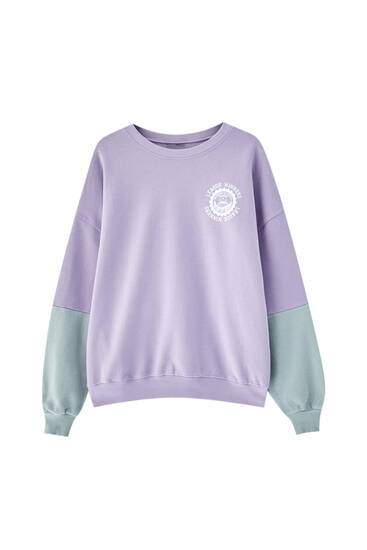 Lilac sweatshirt with panel sleeves