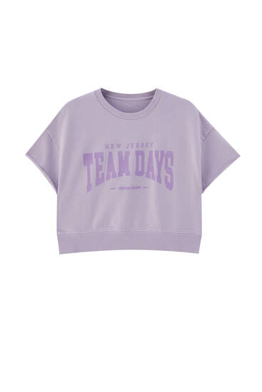 Cropped lavender graphic print sweatshirt