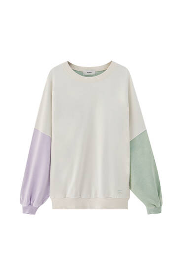 Green and mauve panel sweatshirt