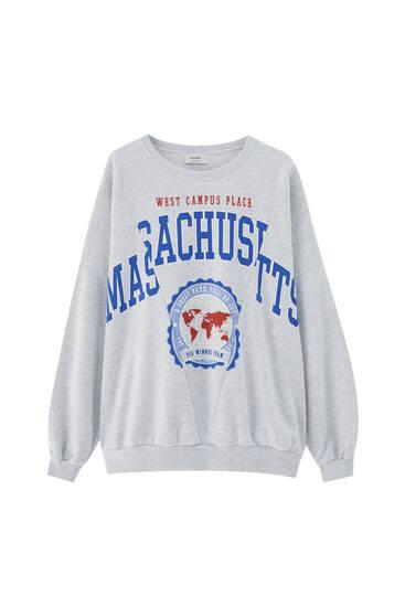 Grey sweatshirt with cut slogan detail
