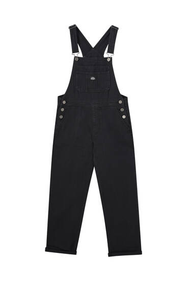 Long black denim dungarees