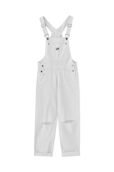 Long white dungarees