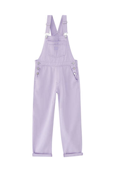 Denim dungarees with label detail