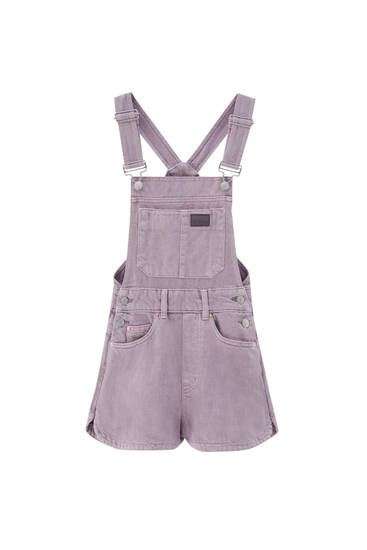 Short mauve dungarees - ecologically grown cotton (at least 50%)