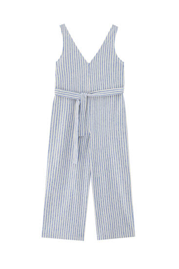 Striped jumpsuit with belt - ecologically grown cotton (at least 50%)