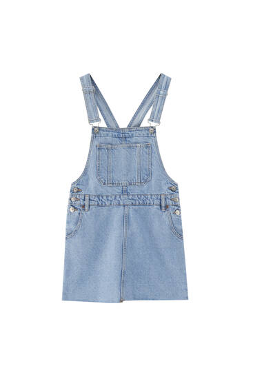 Denim pinafore dress with pocket - ecologically grown cotton (at least 50%)