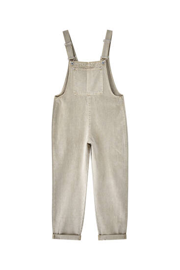 Long oversize denim dungarees - at least 50% ecologically grown cotton