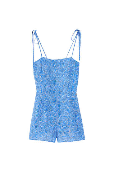 Blue strappy playsuit - ECOVEROTM viscose (at least 50%)