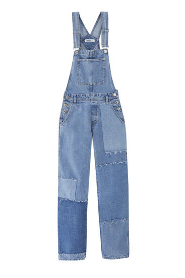 Patchwork denim dungarees - contains recycled cotton