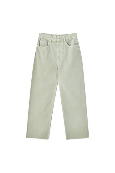 Cropped straight fit coloured trousers