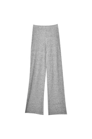 Knit bell bottom trousers