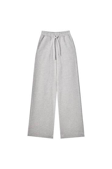 Calças retas com cintura com cordão