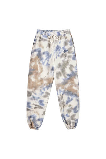 Blue and green tie-dye joggers