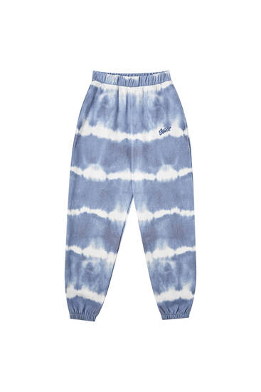 Blue striped tie-dye joggers