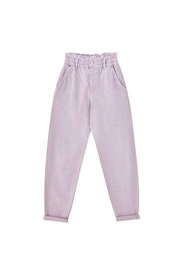 Jeans paperbag goma cintura
