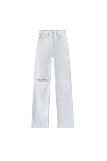White straight-leg high waist jeans