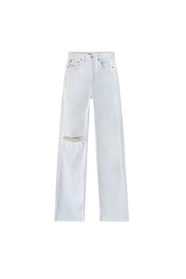 White straight-leg high waist jeans