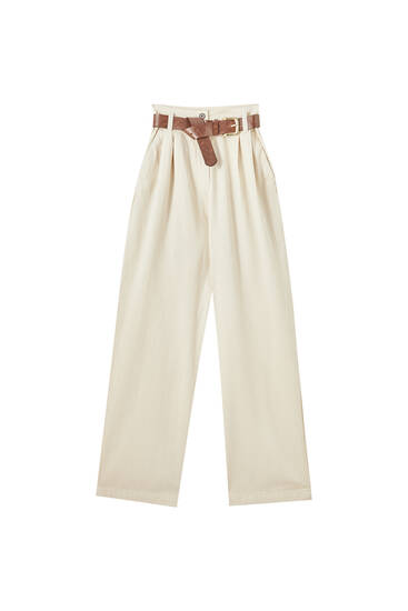 High-waist bell bottom trousers