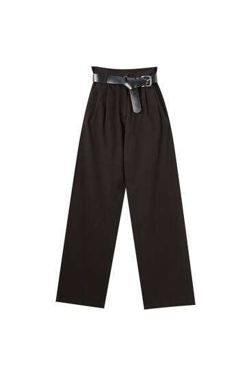 High-waist wide-leg trousers - ecologically grown cotton (at least 65%)