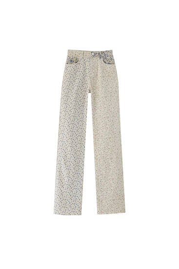 Floral patchwork trousers