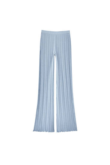 Ribbed blue flare trousers