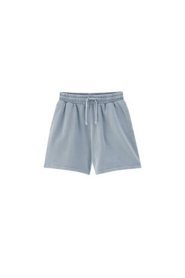 Faded effect Bermuda shorts - At least 75% ecologically grown cotton