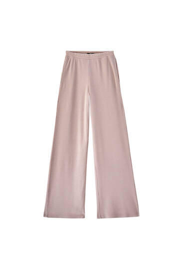 Straight pink check texture trousers