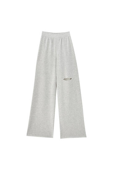 Joggers with rips on the leg