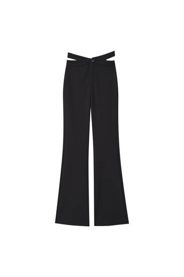 Black trousers with cut-out detail
