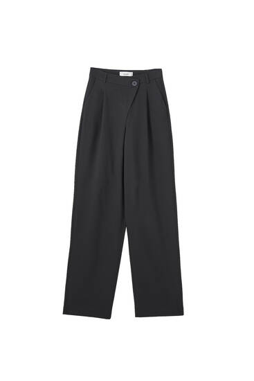 Black asymmetric trousers
