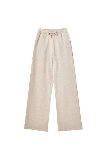 Straight-leg trousers with elastic waistband