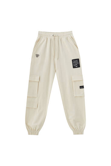 Graphic cargo jogging trousers