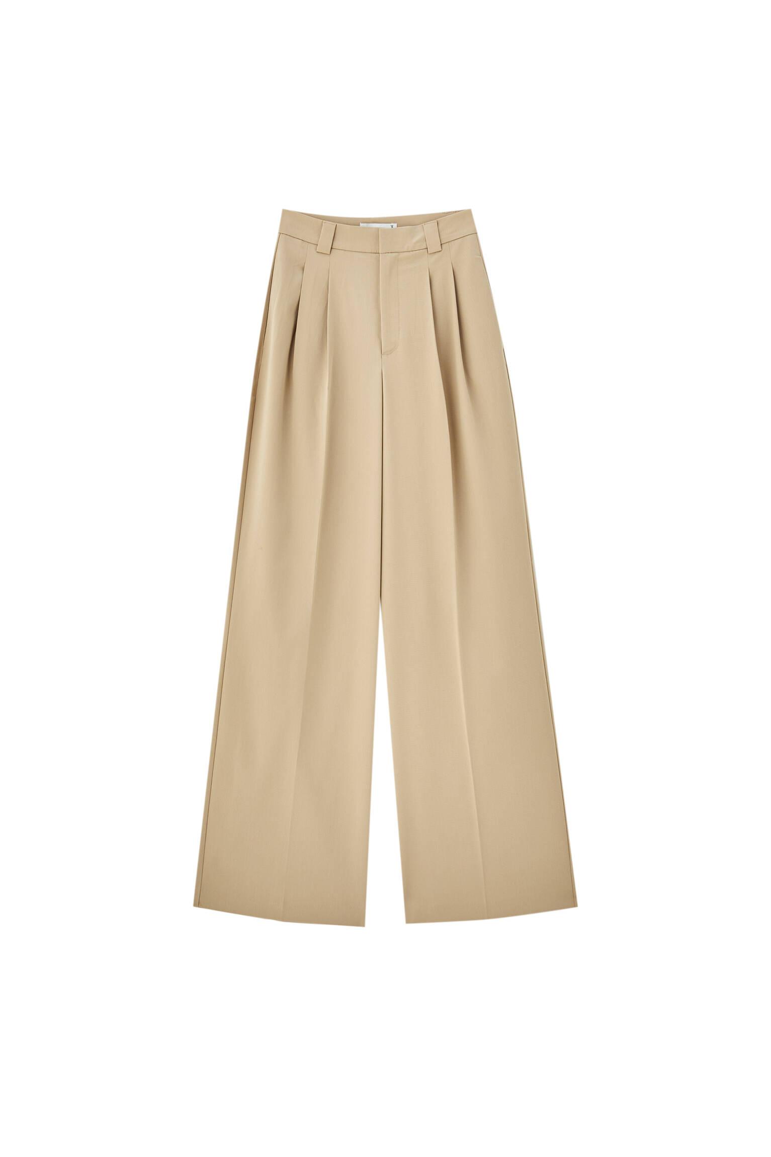 0-743 Базовые брюки с защипами и складками Pull & Bear