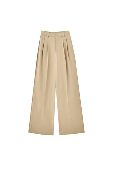 Basic trousers with darts and pleats