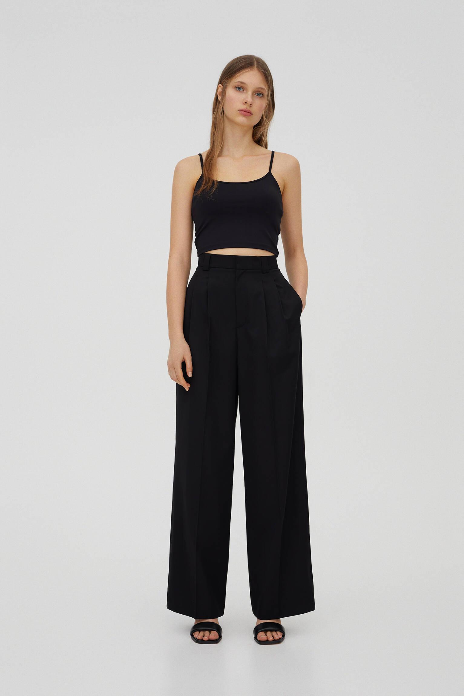 Базовые брюки с защипами и складками ЧЕРНЫЙ Pull & Bear
