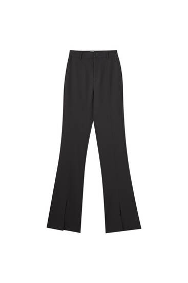 Basic black trousers with slits