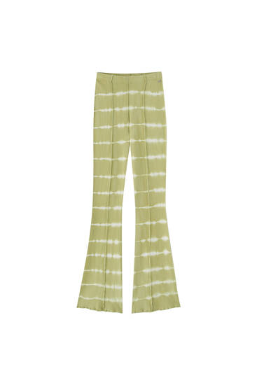 Flared tie-dye trousers