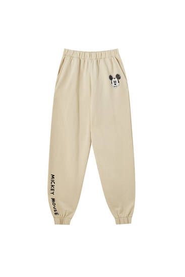 Beige Mickey Mouse joggers