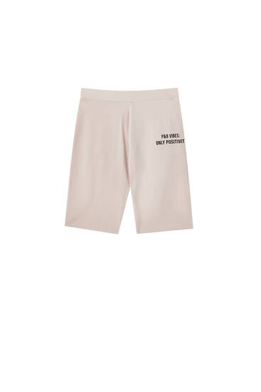 Cycling shorts with slogan