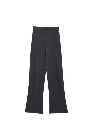 Flowing soft-touch ribbed trousers