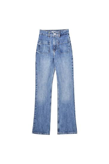 High-waist bootcut jeans